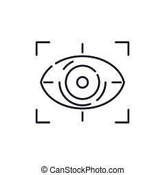 vektor, fogalom, tervezés, egyenes, fehér, jelkép, összpontosít, áttekintés, editable, háló, látomás, ikon, elszigetelt, ütés, ábra, háttér., aláír, lineáris, híg