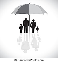 vektor, four(father, fogalom, esernyő, visszaverődés, család, &, graphic-, napernyő, fiú, grafikus, anya, daughter), icon., protection(insurance), jelkép., látszik