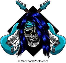 vektor, gitár, koponya, elektromos, tervezés, ábra