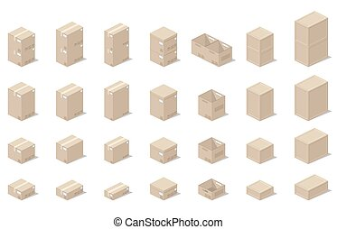 vektor, grafika, gyakorlatias, mód, ikonok, 3, isometric, dobozok, nézet.