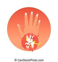 vektor, grafikus, fáj, jelkép, ábra, közös, fogalom, pálma, emberi, circles., fájdalmas, bones.