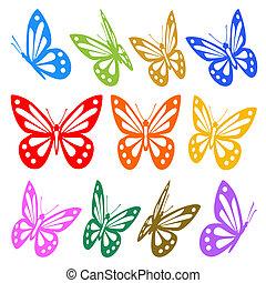 vektor, grafikus, színes, -, körvonal, pillangók, állhatatos