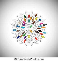 vektor, grafikus, színes, -, nagy, szirom, fogalom, virág, ikon