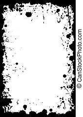vektor, grunge, 11x17, tinta, határ, locsogás