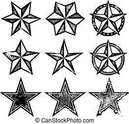 vektor, grunge, csillaggal díszít