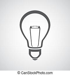 vektor, gumó, ikon, fény