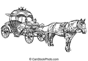 vektor, gyönyörű, ló, illustratoin-, kocsi