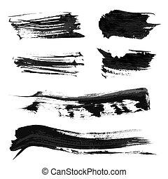 vektor, gyakorlatias, festék, 1, fekete, evez, állhatatos, sűrű