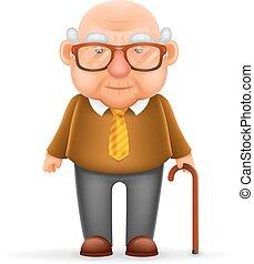 vektor, gyakorlatias, tervezés, öreg, elszigetelt, karikatúra, illusztrátor, nagyapa, 3, ember, betű