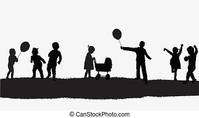 vektor, gyerekek, ábra, természet
