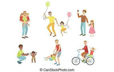 vektor, gyerekek, birtoklás, apák, játék, gyerekek, együtt, apukák, jó, bicikli, állhatatos, lovaglás, ábra, móka időmérés, -eik