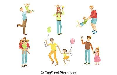 vektor, gyerekek, birtoklás, apák, játék, gyerekek, együtt, apukák, jó, gyalogló, állhatatos, ábra, móka időmérés, -eik