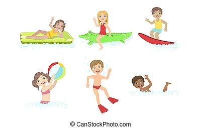 vektor, gyerekek, birtoklás, pocsolya, gyerekek, úszás, úszó, felfújható, víz, ábra, móka, apró