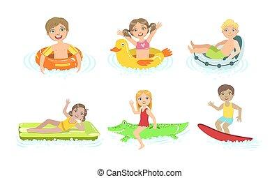 vektor, gyerekek, birtoklás, pocsolya, gyerekek, úszó, felfújható, víz, ábra, móka, apró