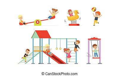 vektor, gyermekkor, fogalom, ábra, gondatlan, gyerekek, set., kevés, játék, játszótér
