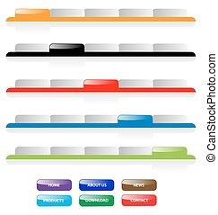 vektor, háló, buttons., összeadás, tabs, text., víz, házhely, szerkeszt, állhatatos, könnyen, teljes, size., 2.0, navigáció, bármilyen
