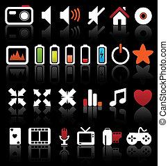 vektor, háló, gombol, állhatatos, multimédia