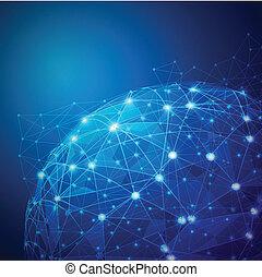 vektor, hálózat, digitális, behálóz, globális, ábra