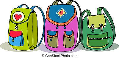 vektor, hátizsák, három, színes, gyerekek