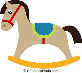 vektor, háttér., ábra, játékszer, ló, fehér