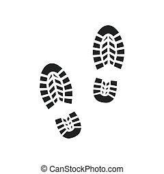 vektor, háttér., fehér, ábra, elszigetelt, lábnyom, ikon