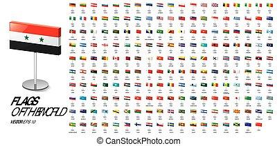 vektor, háttér, nemzeti, ábra, fehér, zászlók, countries.