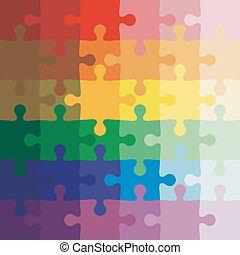 vektor, háttér, puzzle., lombfűrész, szín, ábra