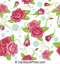 vektor, háttér, seamless, rózsa