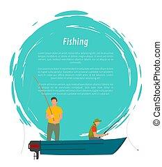 vektor, halászat, motor, halász, csónakázik, ikon