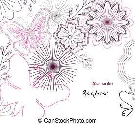vektor, hand-drawn, virág, butterfly.