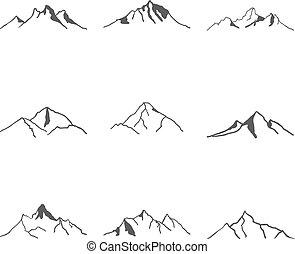 vektor, hegy, állhatatos, ábra, ikonok