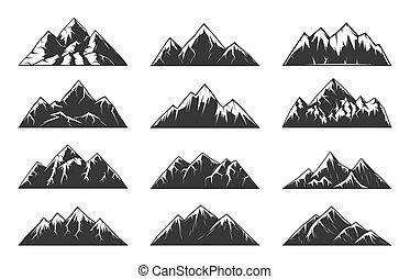 vektor, hegy, havas, sziklás, csúcs, lánc, dombok