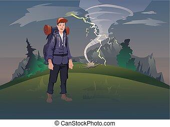 vektor, hegy, külső, háttér, tornádó, hátizsák, természetjárás, rossz idő, idegenforgalom, lightning., aktivál, illustration., hegy., recreation., táj, ember