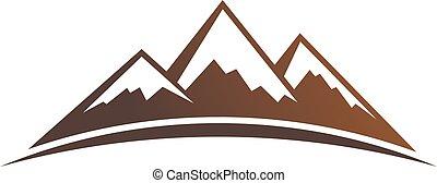 vektor, hegyek, tervezés, grafikus, logo.