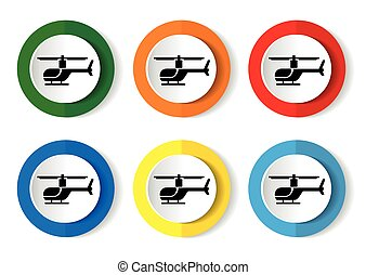vektor, helikopter, button., ikon, internet, kerek