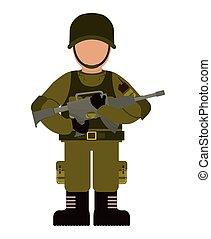 vektor, icon., forces., fegyveres, grafikus, katona