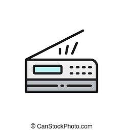 vektor, icon., nyomdász, másológép, scanner, lakás, szín