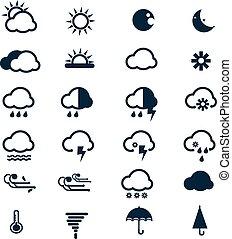 vektor, időjárás, állhatatos, ikonok
