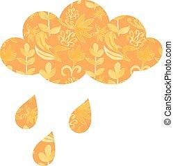 vektor, időjárás, esőcseppek, virágos, ornaments., felhő