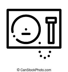 vektor, ikon, ábra, áttekintés, gong