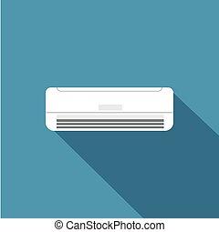 vektor, ikon, airconditioner, ábra, tervezés