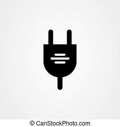 vektor, ikon, design., bedugaszol, elektromos