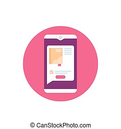 vektor, ikon, elektronikus, ebook, könyvtár