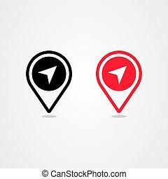 vektor, ikon, elhelyezés, gombostű, tervezés