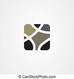 vektor, ikon, fal, jel, tervezés, megkövez