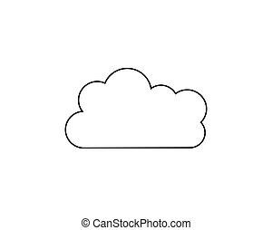 vektor, ikon, felhő, ábra