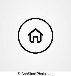 vektor, ikon, jelkép., tervezés, saját épület