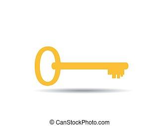vektor, ikon, kulcs, ábra