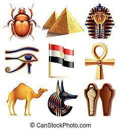 vektor, ikonok, állhatatos, egyiptom