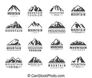 vektor, ikonok, állhatatos, hegy